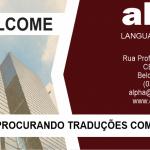 """imagem com logo da empresa, e o texto com contatos: e-mail alpha@alphatradu.com.br, telefone (031)3287-2859, e a seguinte frase """"Procurando traduções com qualidade?"""""""