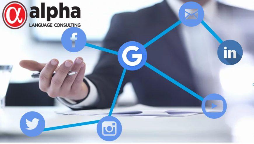 Imagem de um homem, e vários ícones de redes sociais, facebook,linkedin,twitter,instagram,google. No canto superior a esquerda consta a logo da empresa