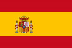 Bandeira da Espanha, vermelha com uma faixa amarela na horizontal, e seu respectivo brasão no meio