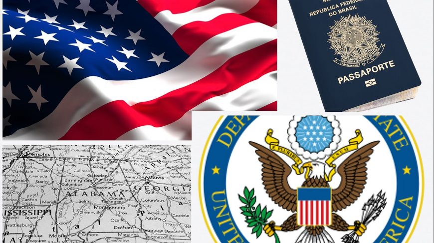 Montagem com a bandeira dos EUA, um passaporte brasileiro, o brasão da embaixada americana e um pequeno mapa.